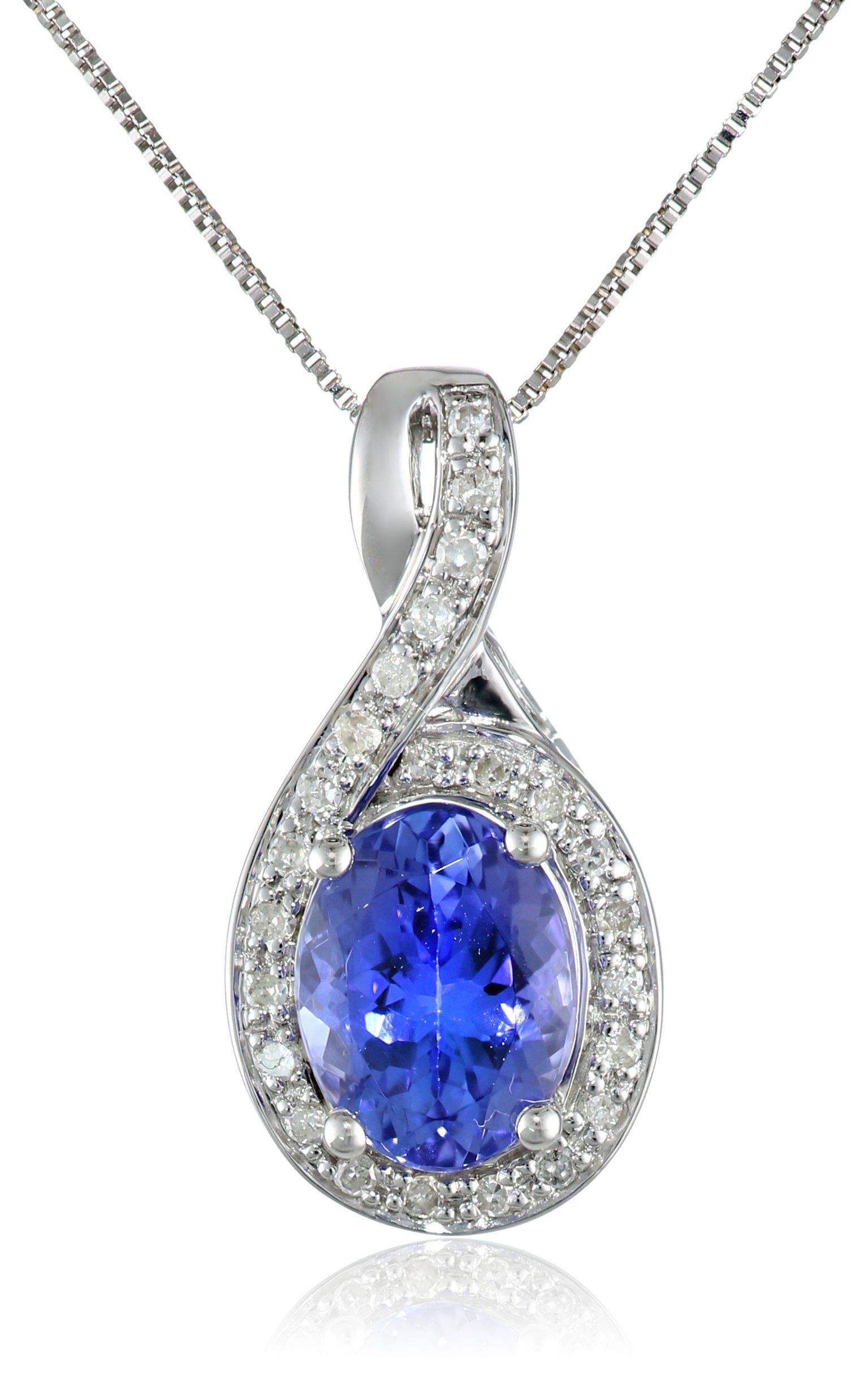 """14k White Gold Tanzanite and Diamond (1/10cttw, H-I Color, I2-I3 Clarity) Oval Pendant Necklace, 18"""""""