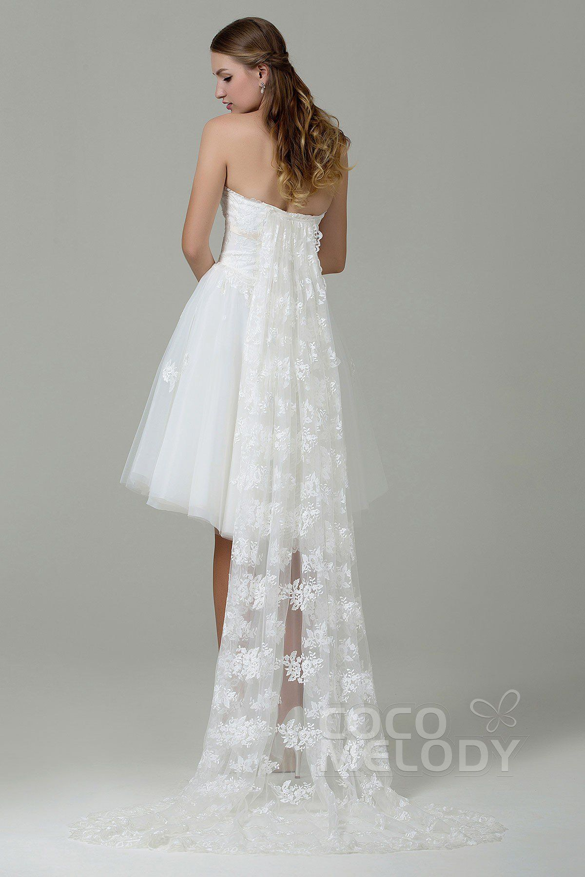 Sweet A-Line Strapless Natural Knee Length Tulle and Lace Ivory Sleeveless Lace Up-Corset Wedding Dress with Appliques and Removable Train CWLK15001#cocomelody#weddingdresses#bridalgowns#
