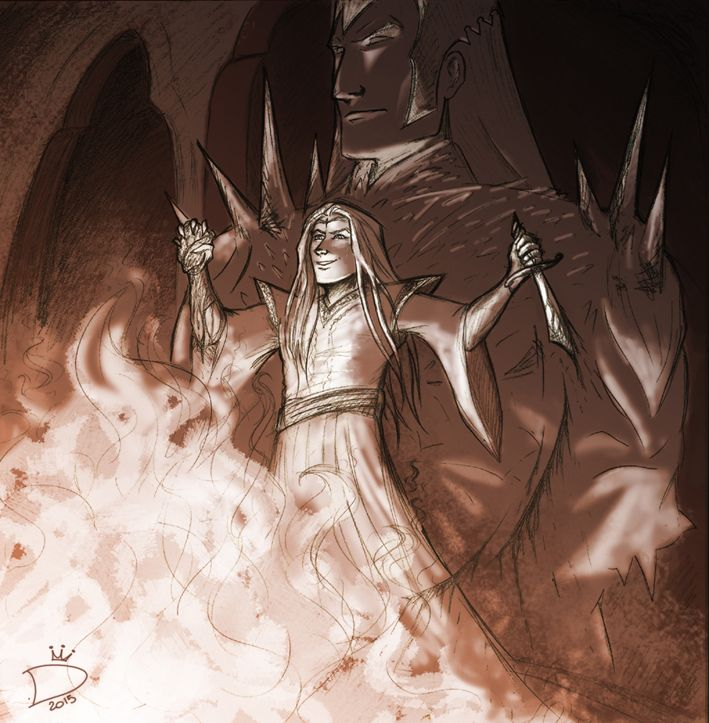 dragonbier:Do you have a moment to hear the word of Melkor, Lord of All and Giver of Freedom? No? Than you shall BURN TO DEATH.A pic I'll never finish of Sauron being an asshole in Númenor and making human sacrifices for his husband master