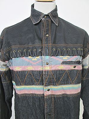 Vintage American Clothing Psychedelic Cowboy Denim Shirt Small Vintage Denim Shirt Denim Shirt Denim