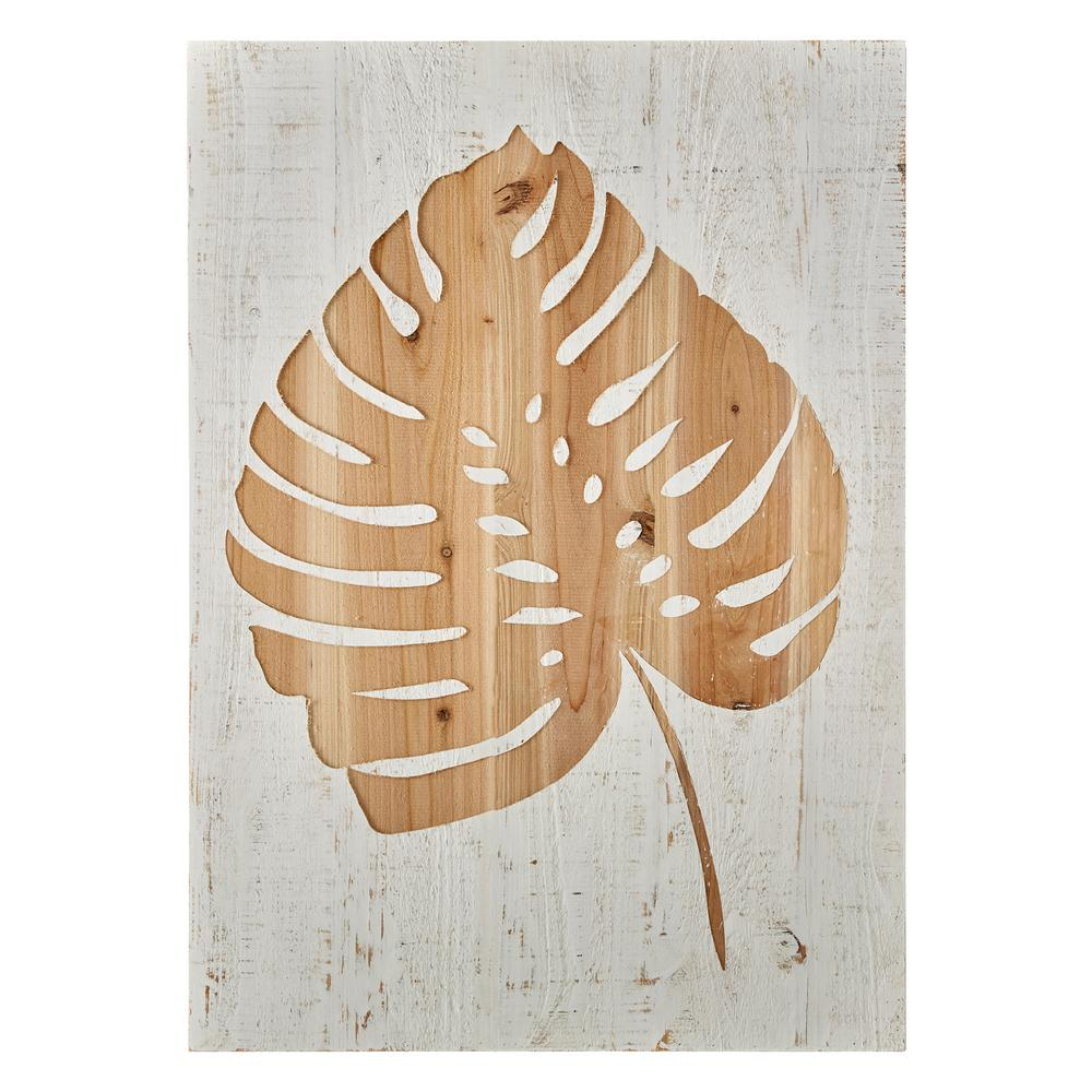Graham Brown 28 In X 20 In Tropical Leaf Laser Cut Wood Wall