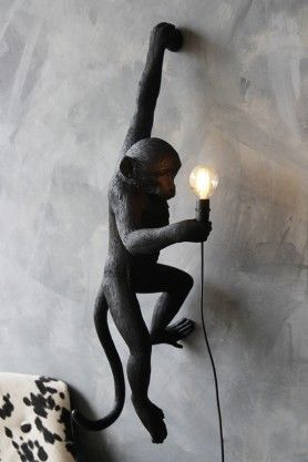 Left Hand Hanging Monkey Wall Lamp Black Suitable For
