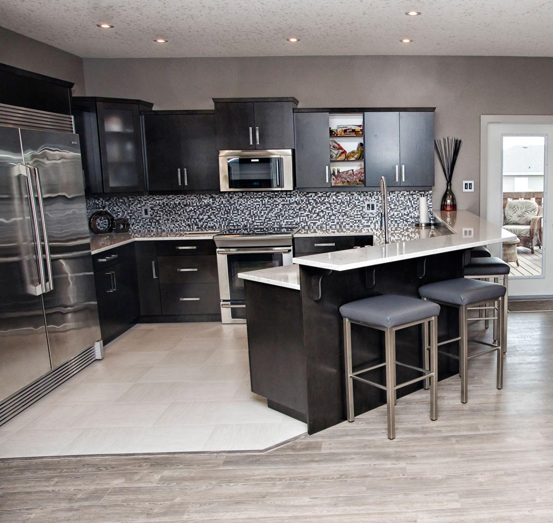 Open Concept Modern Kitchen: Open Concept Grey Kitchen