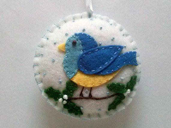 Blue bird sieraad vogel Kerstdekoratie vilt vogel door DusiCrafts
