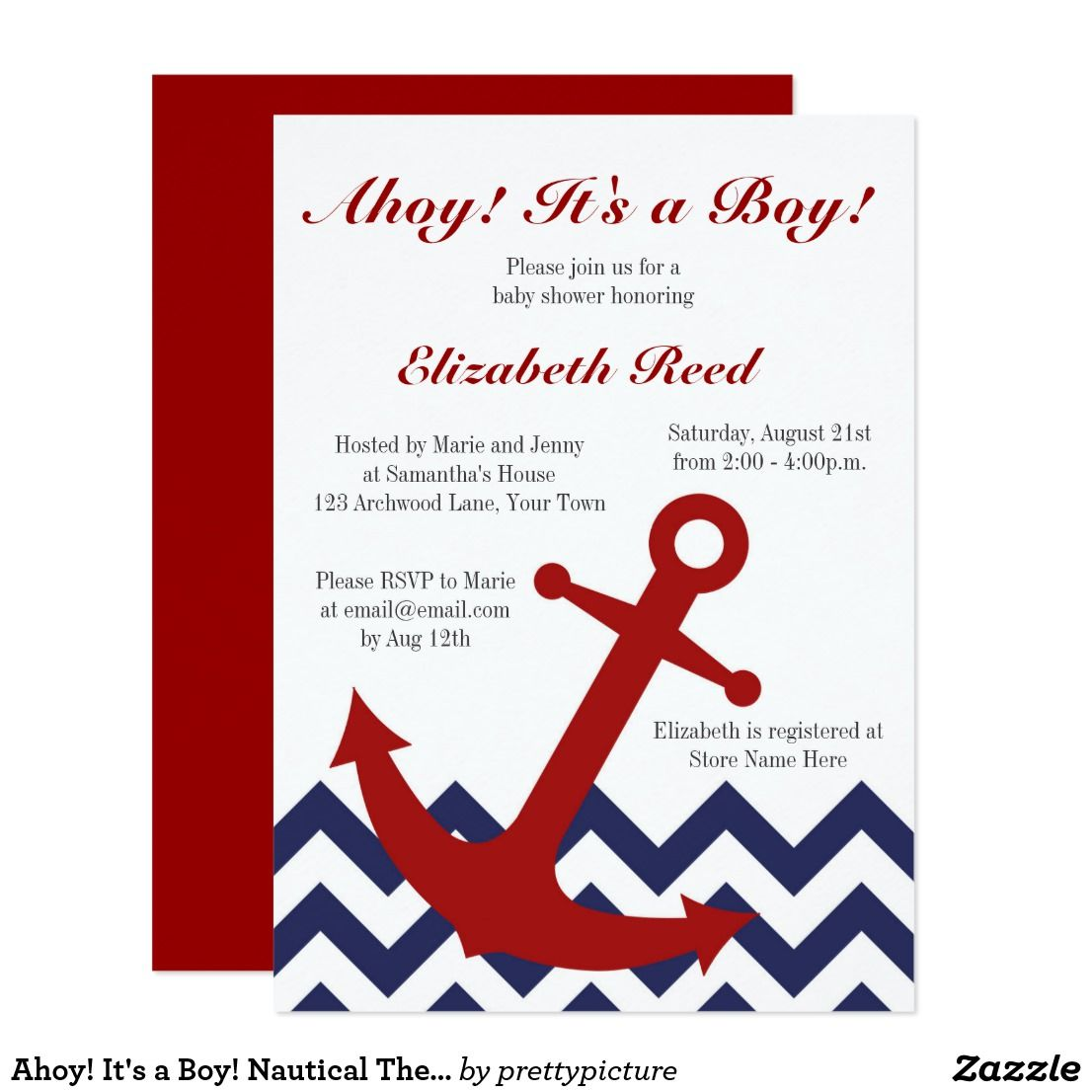 Ahoy! It\'s a Boy! Nautical Theme Baby Shower Card | Nautical theme ...