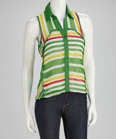 Take a look at this Green Stripe Button-Up Tank by Fashion Apparel Industries, Inc. on #zulily today!