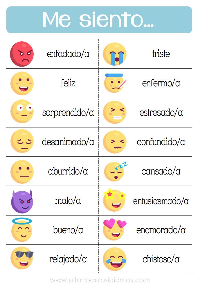 Recursos imprimibles para trabajar en clase de Español las emociones ...
