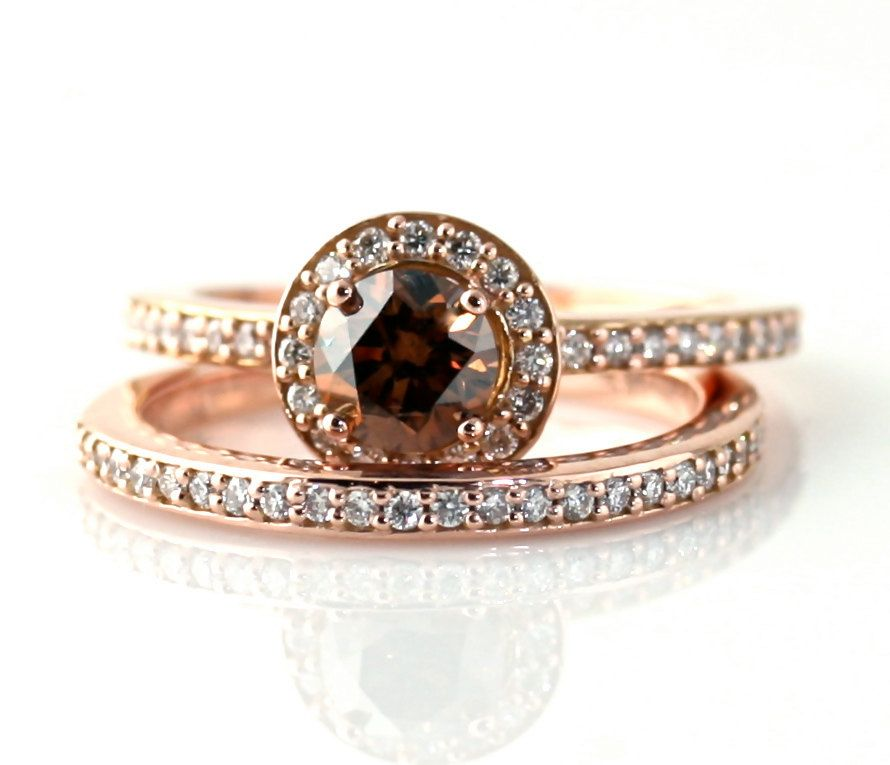 14k Chocolate Diamond Wedding Set Engagement Ring Fancy Champagne Halo Brown Custom Bridal