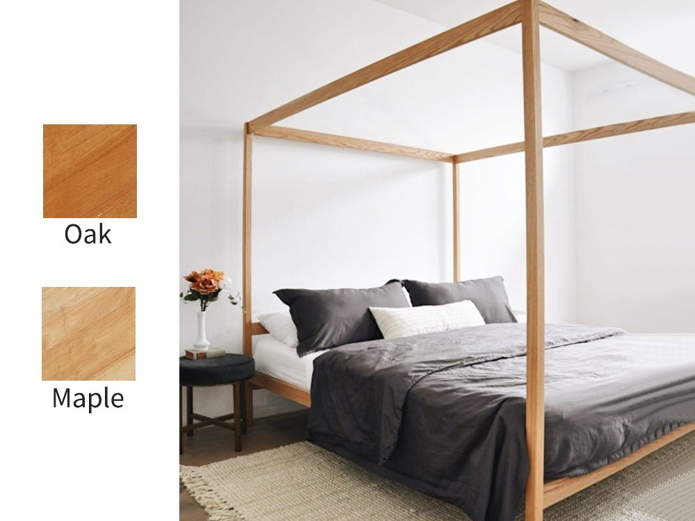 The Lindy Natural 4 Poster Bed Frame Oak Choose Size Solid Wood Bed Frame Platform Bed Frame King Platform Bed Frame