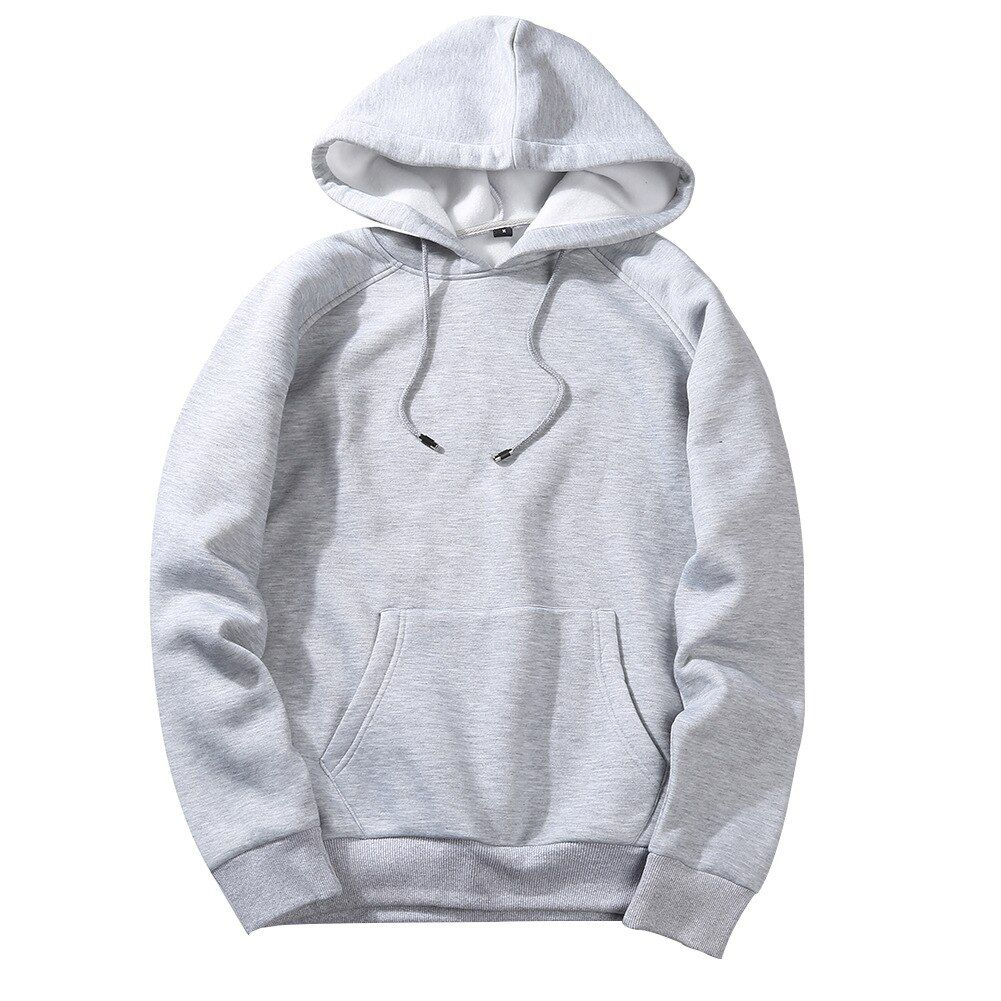 Men S Hoodies Solid Color Autumn Tops Pullovers Cotton Polyester