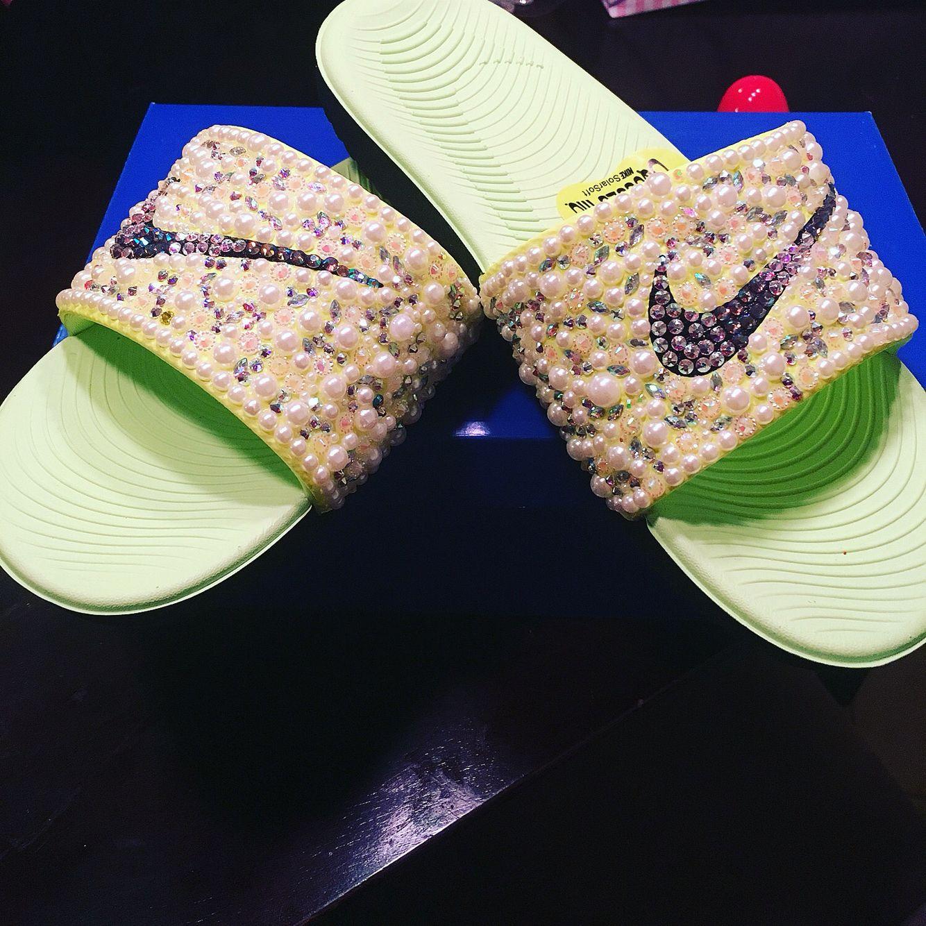 082cef3f63d7 Custom-made bedazzled Lime Green Nike Slides. Swarovski Stones ...