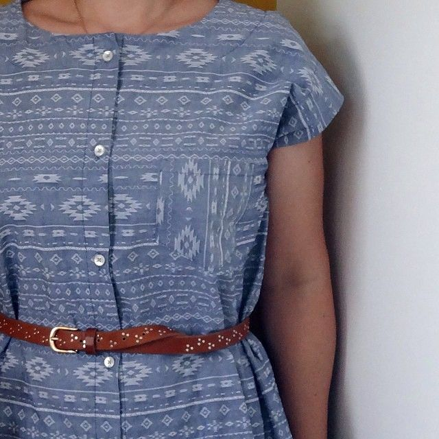 """""""Obsessed with this shirt dress by @marillawalker! Fabric is jacquard chambray we don't have in stock anymore but I'm thinking we should bring it back…"""""""
