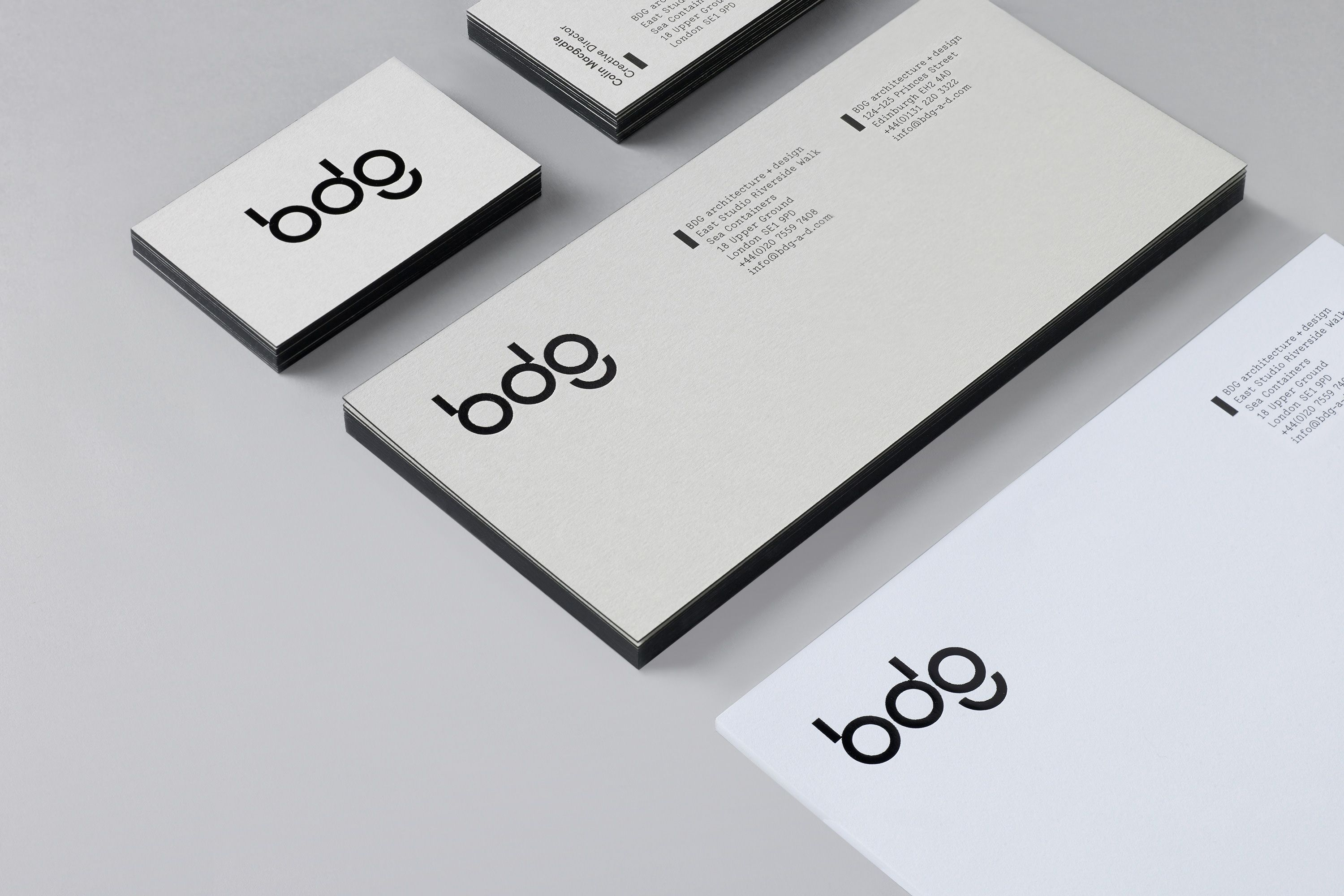 edge painted business card and pliment slip for bdg designed by
