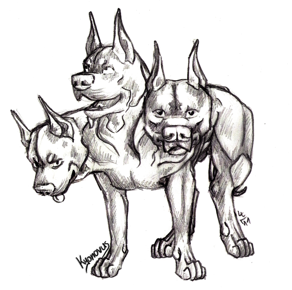 Dreiköpfiger Hund