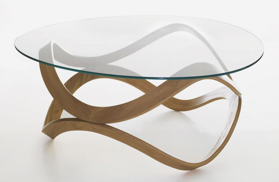 Contemporary Oval Glass Coffee Table With Antique Light Brown