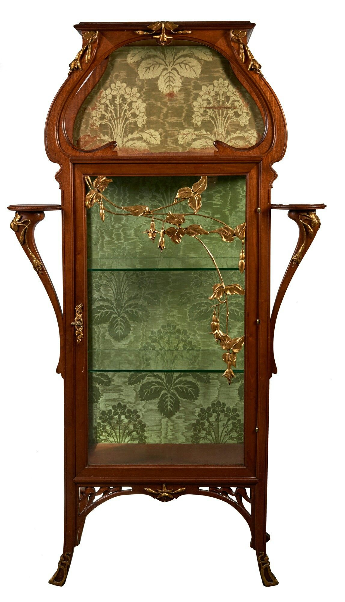 Art nouveau natural wood showcase molded and sculpted decor applied