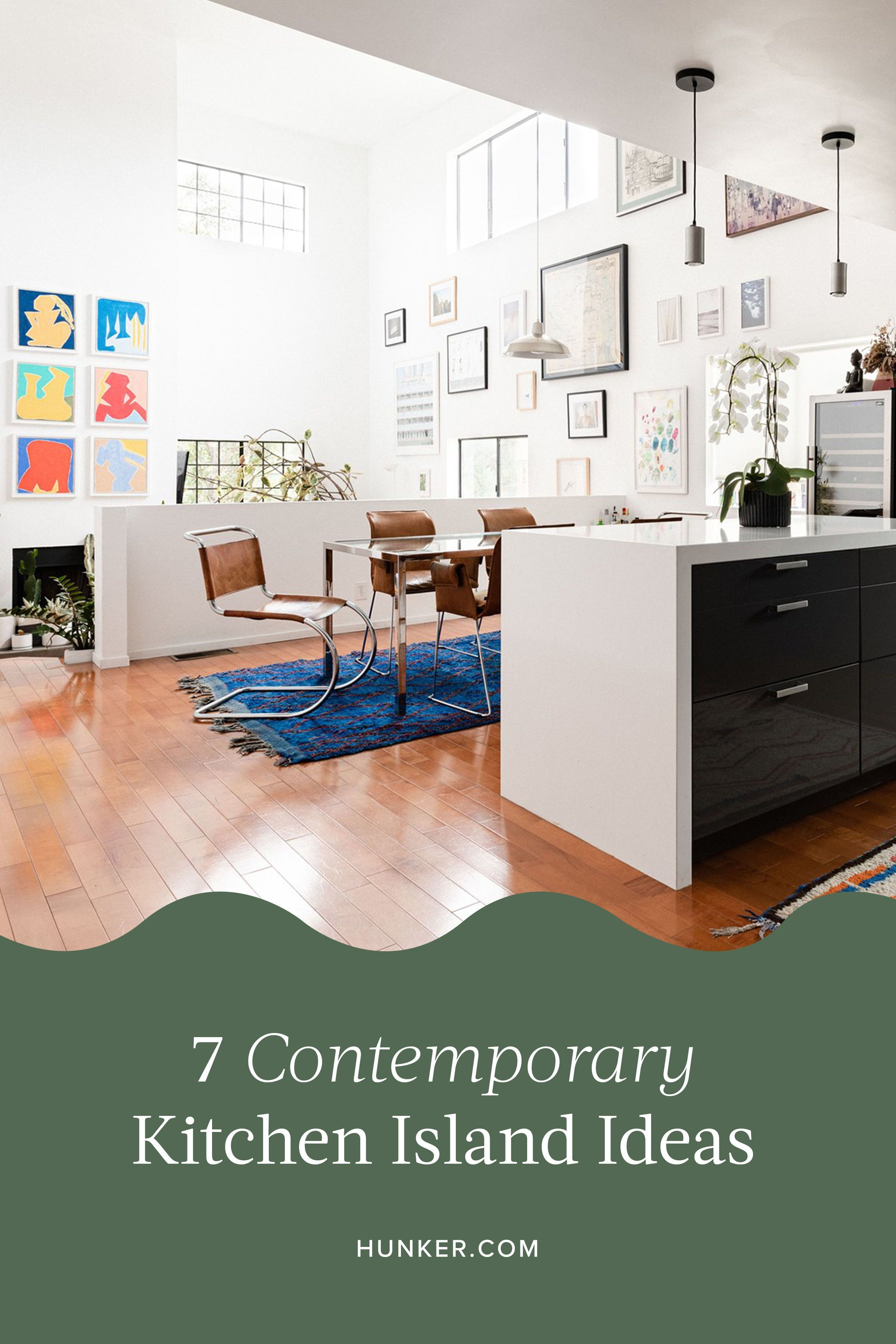 7 contemporary kitchen island ideas any novice or home chef will love hunker in 2020 contemporary kitchen island contemporary kitchen blue accent walls pinterest