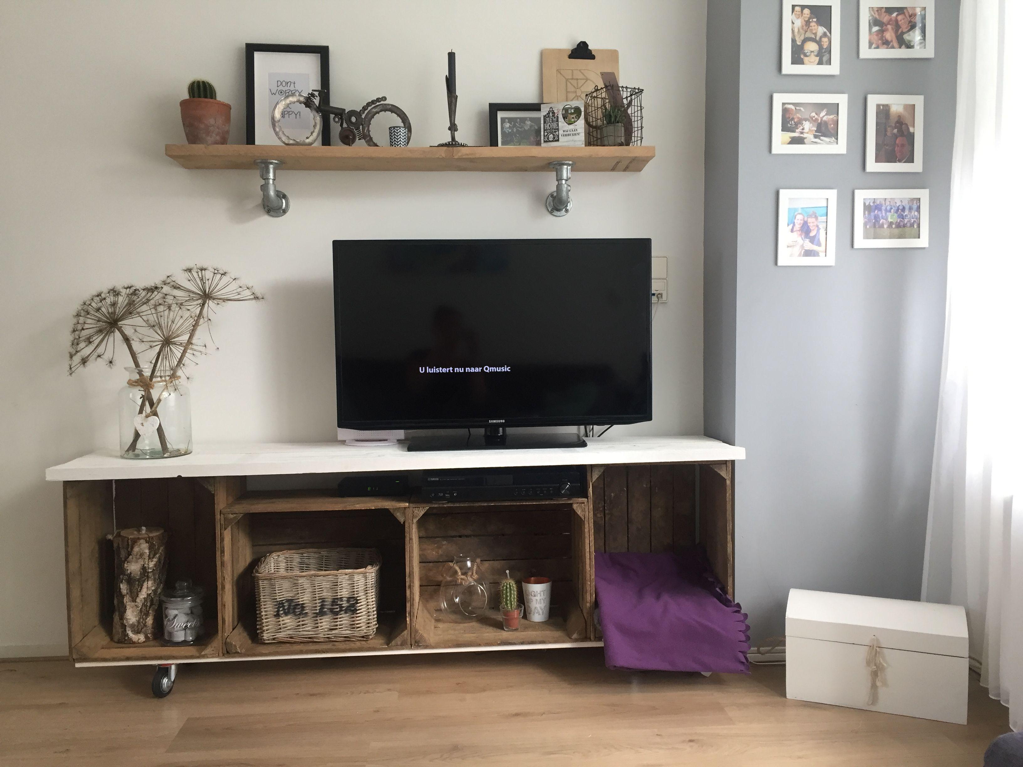 Tv Meubel Van Fruitkisten En Steigerhout Wonen Home