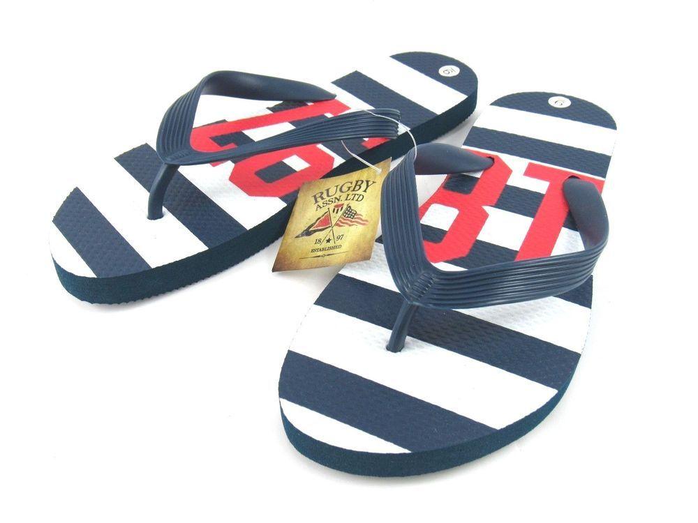 4ec91867d505c Rugby Assn 1897 Women s Thong Sandals Flip-Flops Navy White Size 9 New