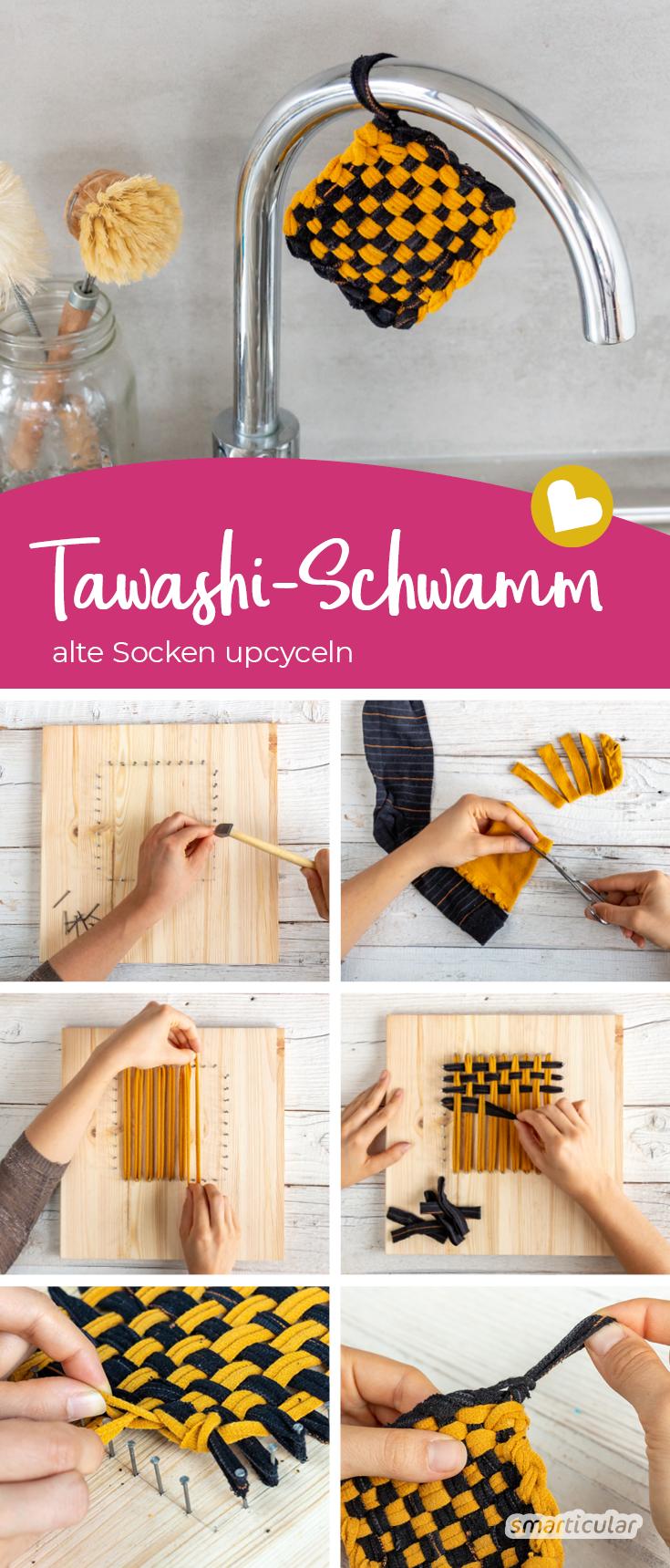 Tawashi-Schwamm selber machen aus alten Socken