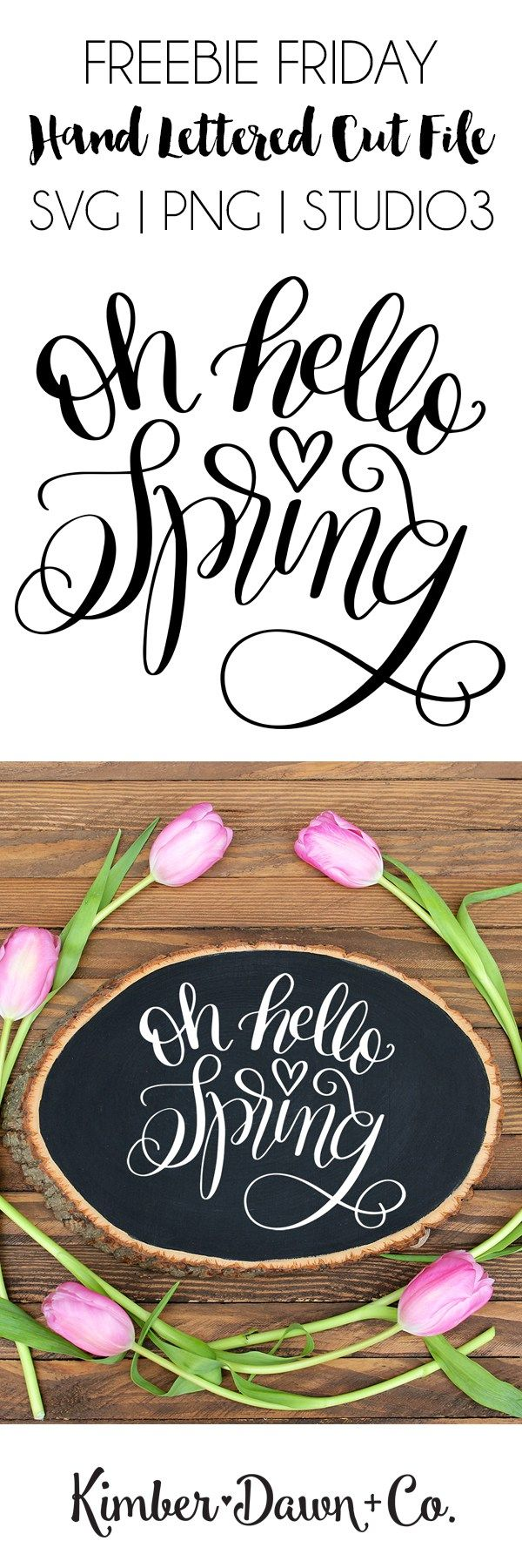 Hand Lettered Oh Hello Spring FREE SVG Cut File for Silhouette and