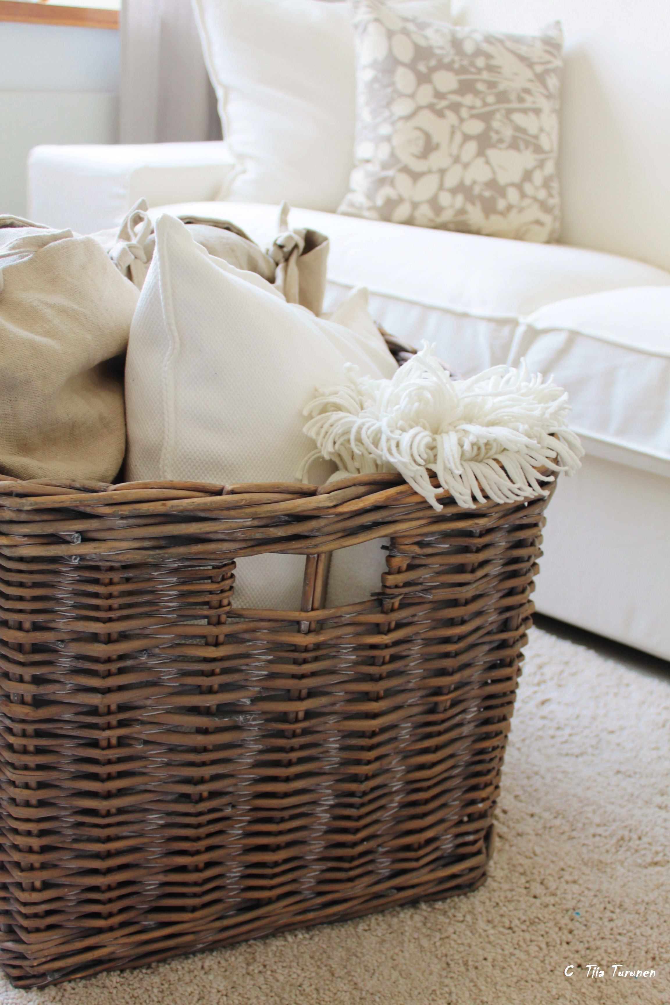 Home Decor Baskets Living Room This Is Nice Extra Pillows And Blankets For When Youre Feeling