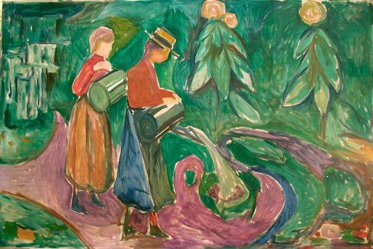 Girls Watering Flowers  -  Edvard Munch  1921-22
