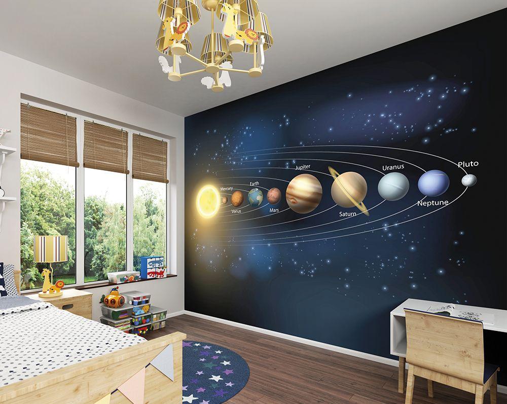 Planets Wall Mural Wallpaper Mural  ohpopsi  Boys bedroom