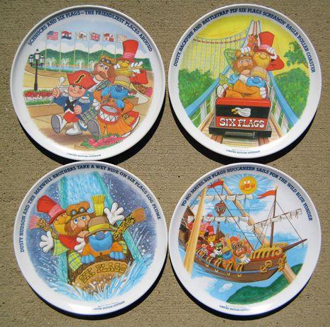 Vintage Six Flags Schnucks Plates Six Flags Vintage Theme Vintage