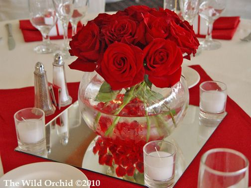 Centerpiece foxtail club summer wedding red roses in