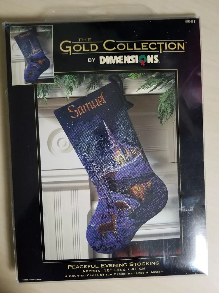 Dimensions Christmas Stocking Kits.Peaceful Evening Cross Stitch Christmas Stocking Kit