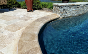 Premier Stone Rainbow French Pattern Paver Pool Deck With Noce Remodel Coping
