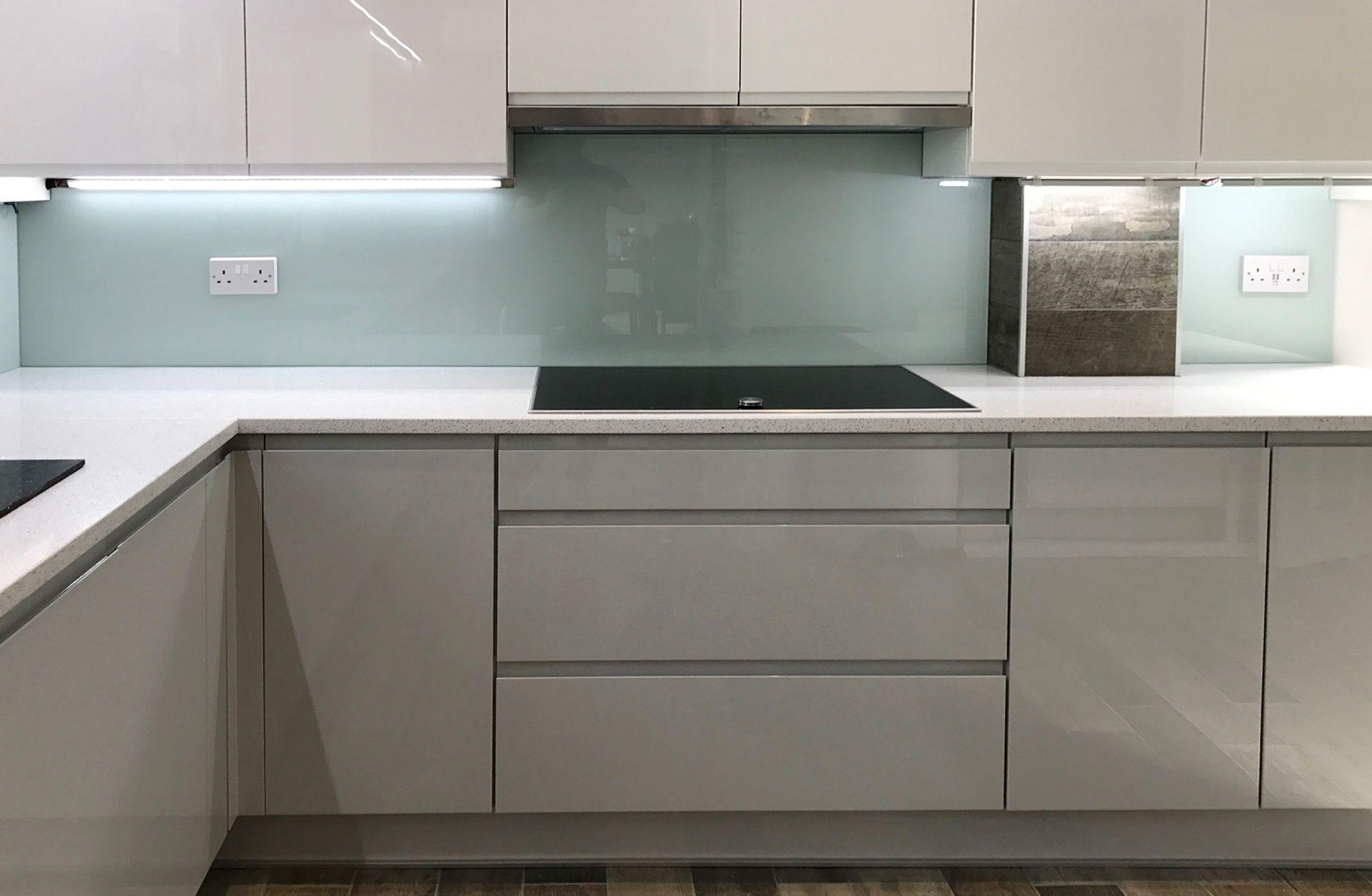 Contemporary Glass Splashbacks Kitchen Design Grey Gloss