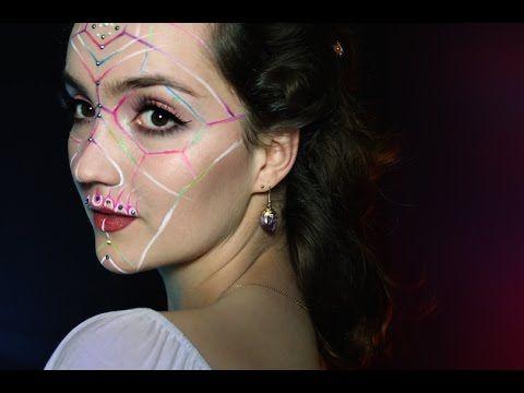 simple halloween makeup geometric skull  youtube