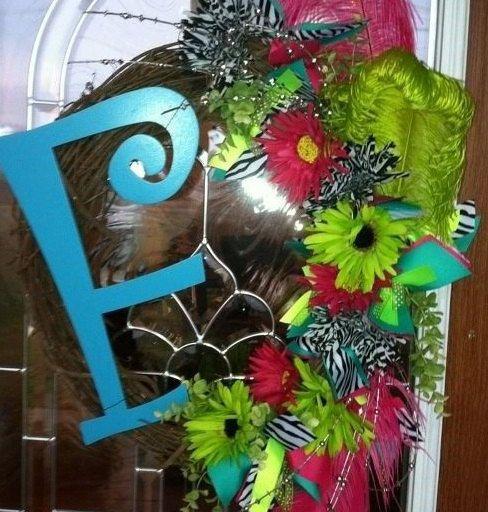 Natural Wood Wreath with Teal Initial and by JenniCopelandCrafts, $65.00