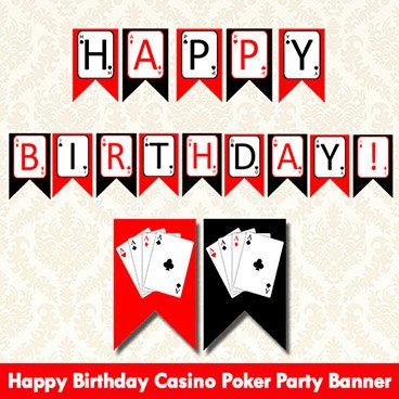 Printable Poker Birthday Banner Casino Las Vegas Happy Birthday