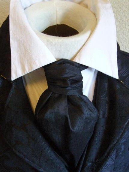 4249aa9632cb Formal Length Ascot Cravat Tie - Midnight Black Dupioni SILK ...