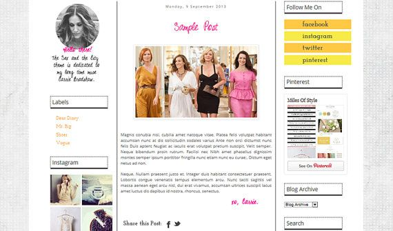 Premade Stylish 3 Column Blogger Template Sex And By
