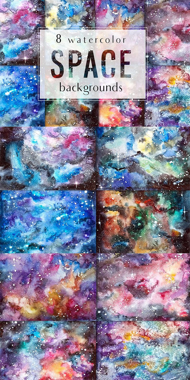 Set Of 8 Hand Drawn Watercolor Space Backgrounds Perfect For