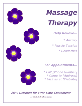 Purple flowers decorate this free printable flyer that advertises purple flowers decorate this free printable flyer that advertises massage services free to download and print reheart Image collections