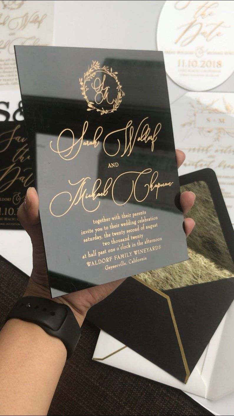 Black Acrylic gold WEDDING INVITATION clear perspex double