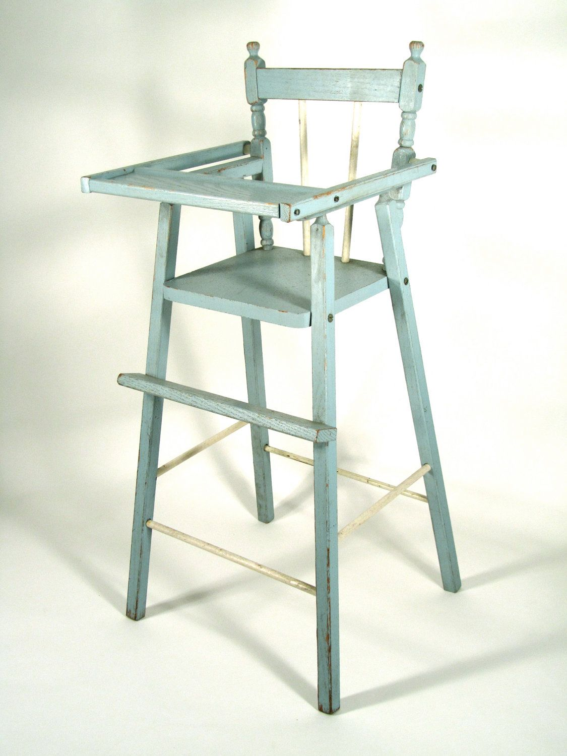 item vintage distressed wood doll high chair in blue would
