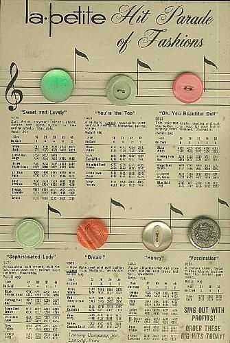 ButtonArtMuseum - Vintage Button Sample Card of LaPetite Buttons - Sample Cards