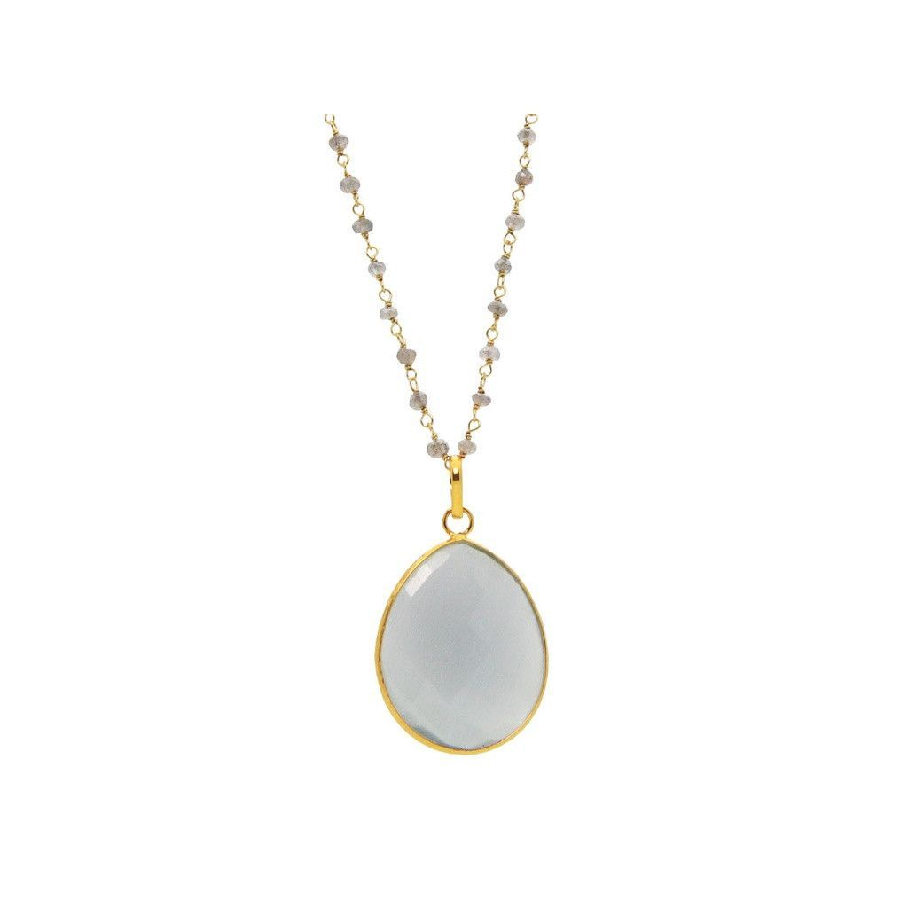 """Fronay Collection Moonstone & Labradorite Sterling Silver Necklace, 16"""""""