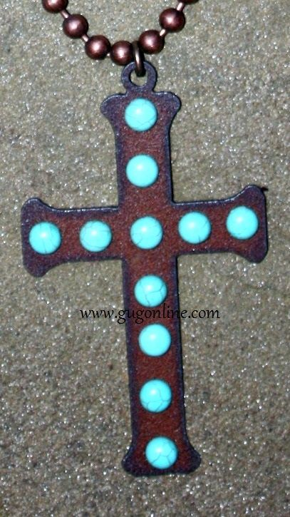 Long Rust Chain with Rust Metal Cross and Turquoise Studs www.gugonline.com $32.95