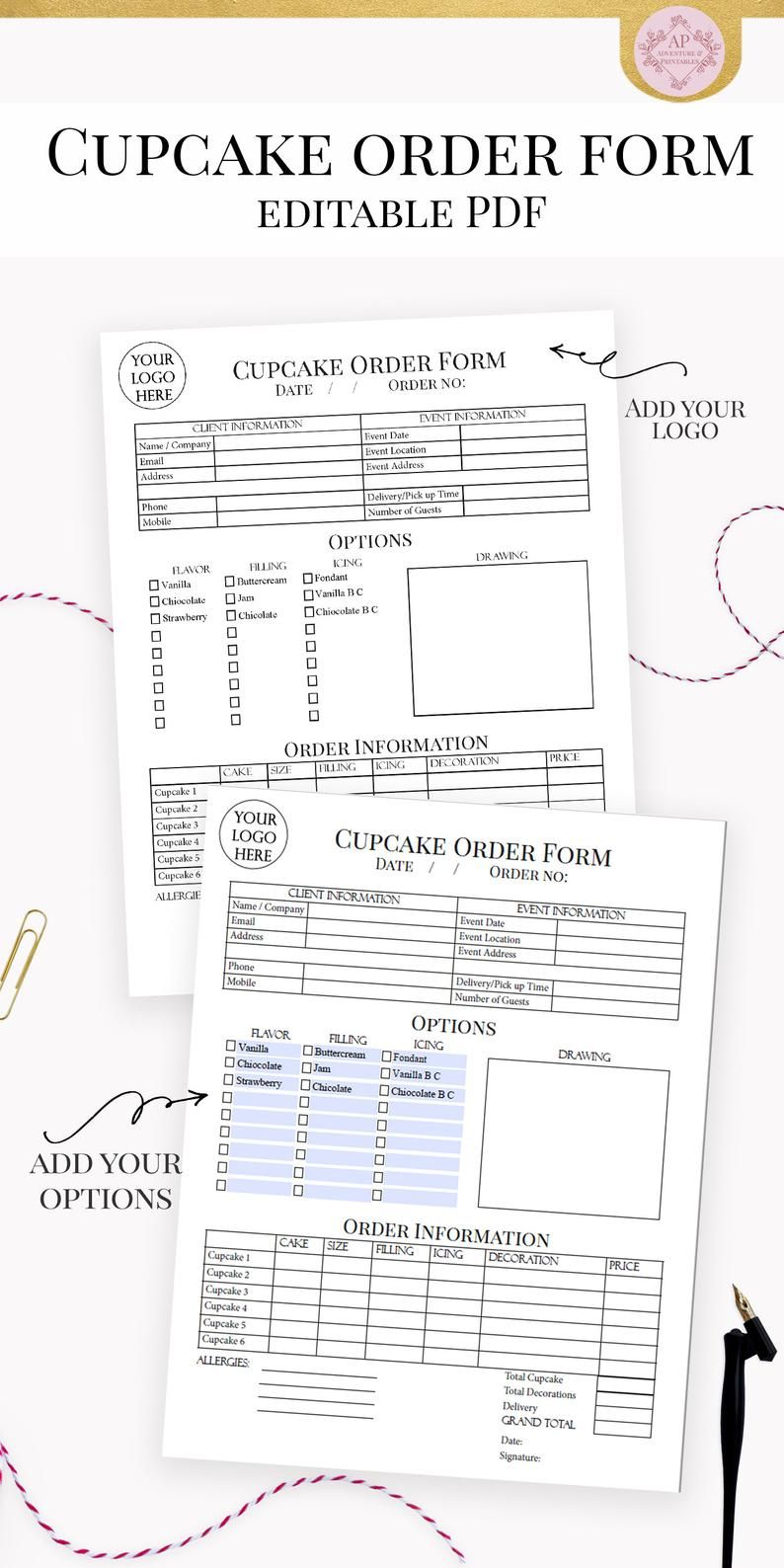 Custom Cupcake Order Form, Bakery Forms, Cupcake Order