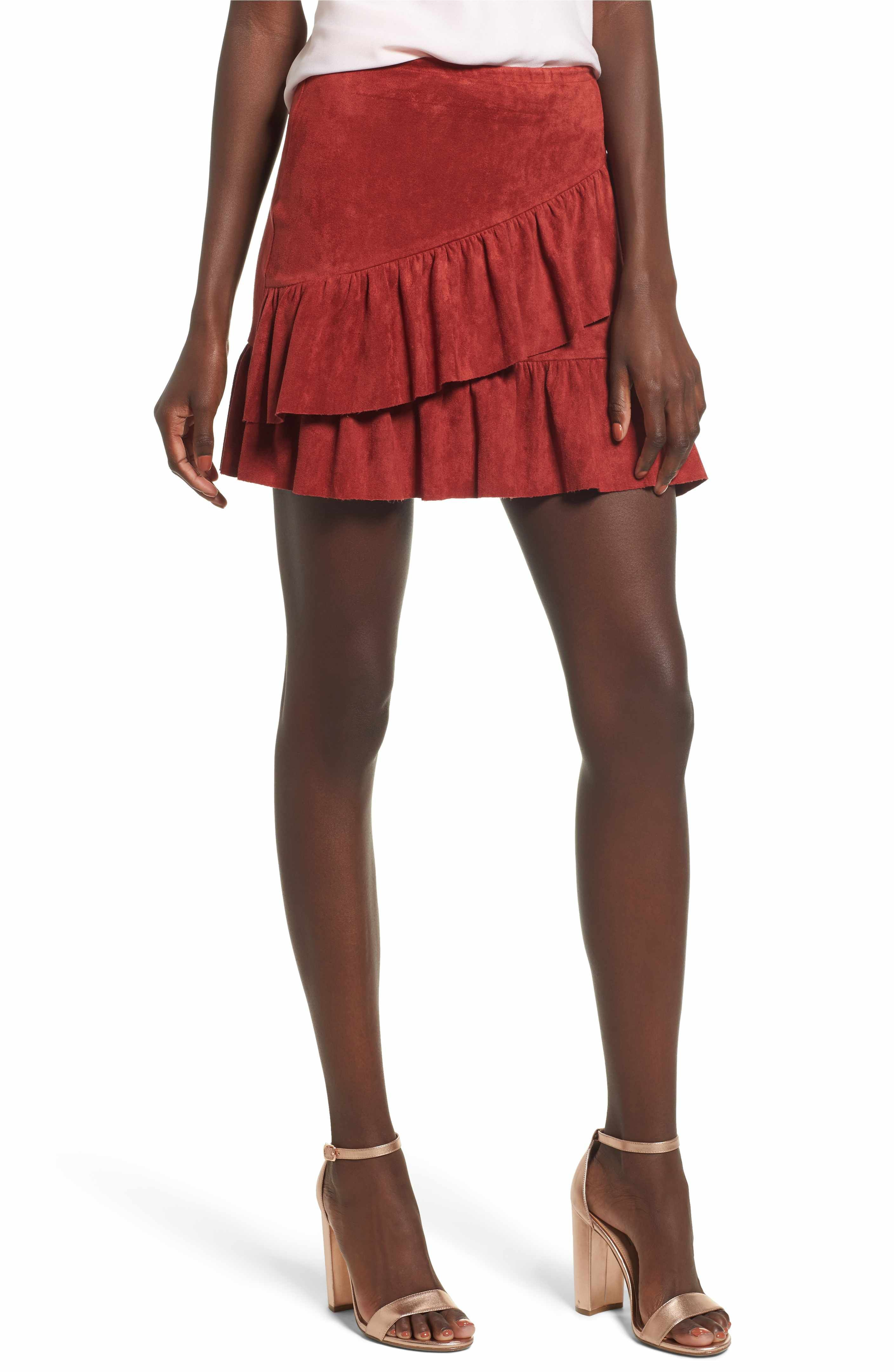 1494034cd Main Image - Soprano Faux Suede Ruffle Miniskirt | shopping | Mini ...