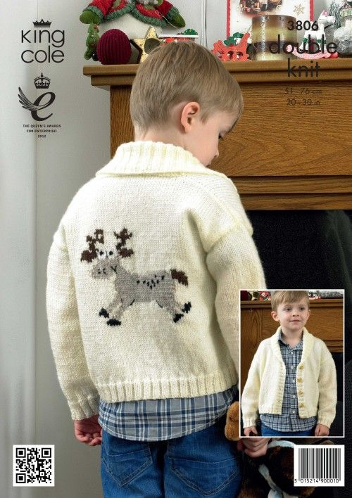Childrens Christmas Cardigan Pattern Knitted Rudolph Cardigan King