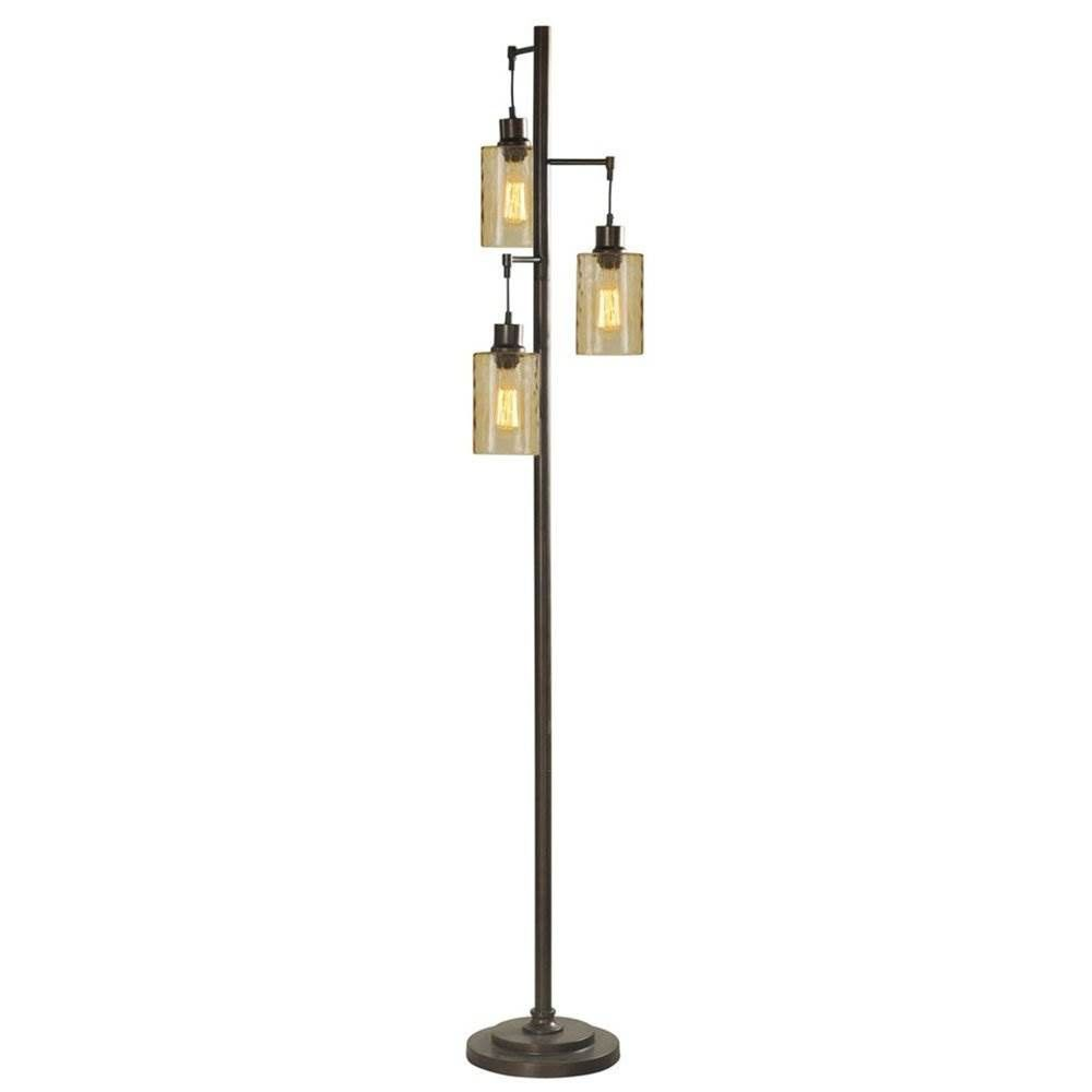 Abode 84 72 Inch Floor Lamp With 3 Glass Champagne Dimple Shades Bronze Bronze Floor Lamp Tree Floor Lamp Lamp