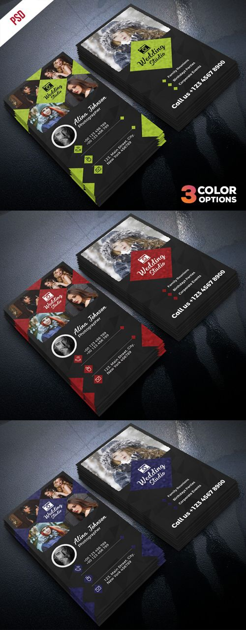 Photographer business card psd template set carto cartes de photographer business card psd template set reheart Image collections